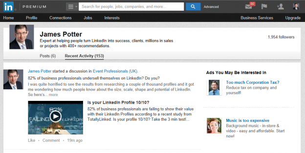 Activity up on LinkedIn